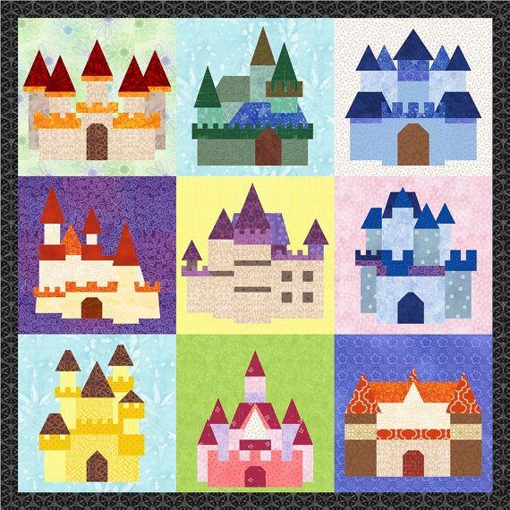 Fairy Tale Castles - 9 Quilt Block Patterns - Foundation Paper ... : fairy tale quilt patterns - Adamdwight.com