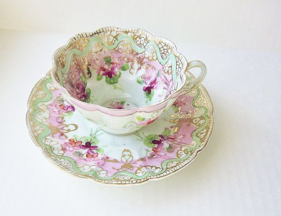 Scallop Edge Vintage Teacup Decorative Hand Painted Fine China Tea Party Cottage Shabby Chic Decor Mint Green Purple Pink Gold Gi Tea Cups Vintage Tea Cups Tea