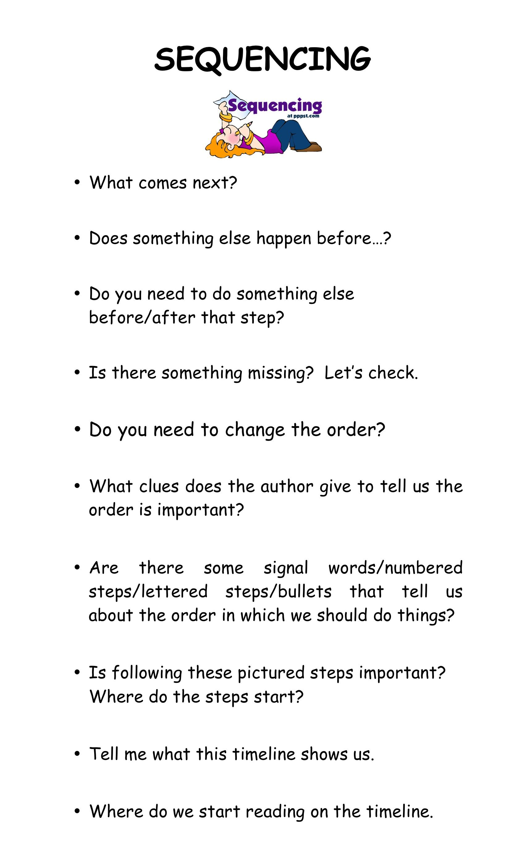 Reading Strategy Sequencing Esl Reading Reading Strategies