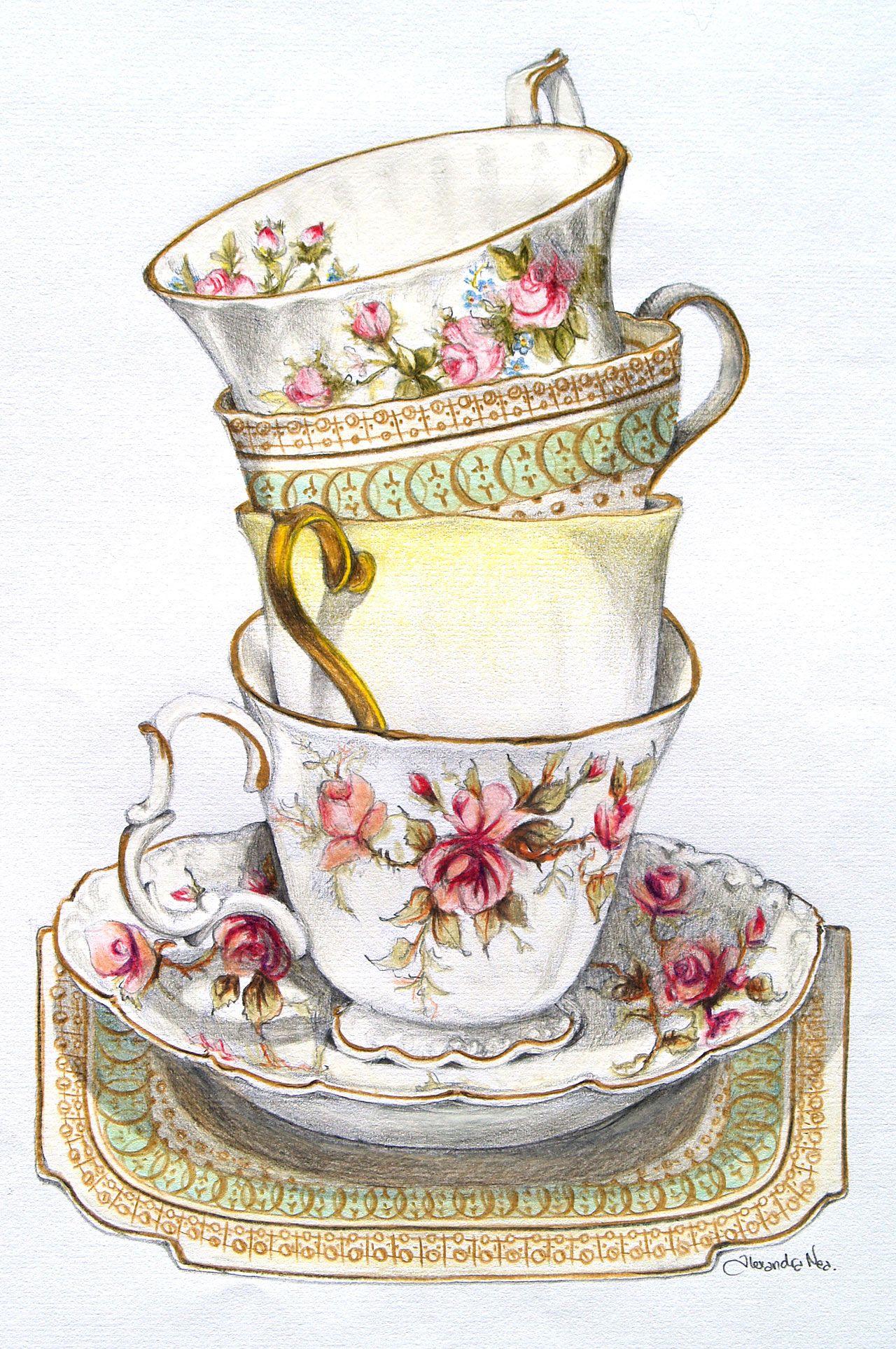 vintage tea cup wallpaper - photo #24