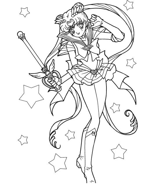 Sailor Moon Carries A Magic Wand Coloring For Kids Sailor Moon Coloring Pages Moon Coloring Pages Sailor Moon Crafts