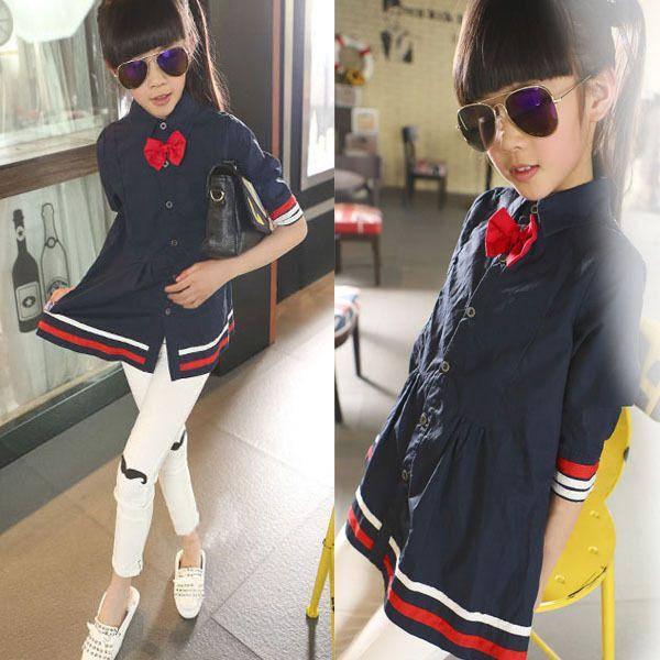 Impressionnant Style Pour Fille #9: Pas Cher Preppy Style Bleu Blanc Enfants Robes Vêtements Pour Filles Une  Ligne Arc Moitié Manches