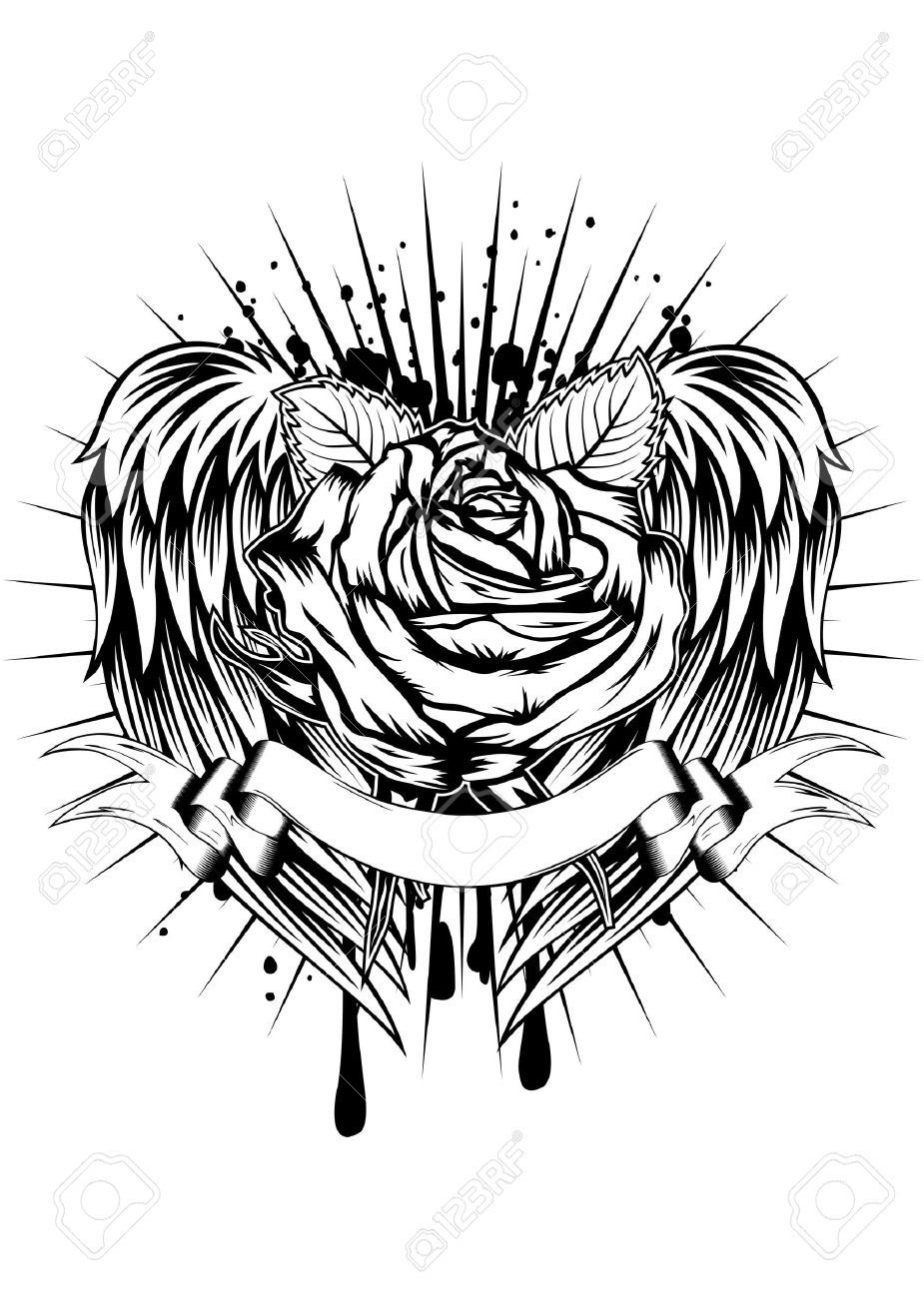 Roses And Angel Wings Tattoo Google Search Dragon Angels