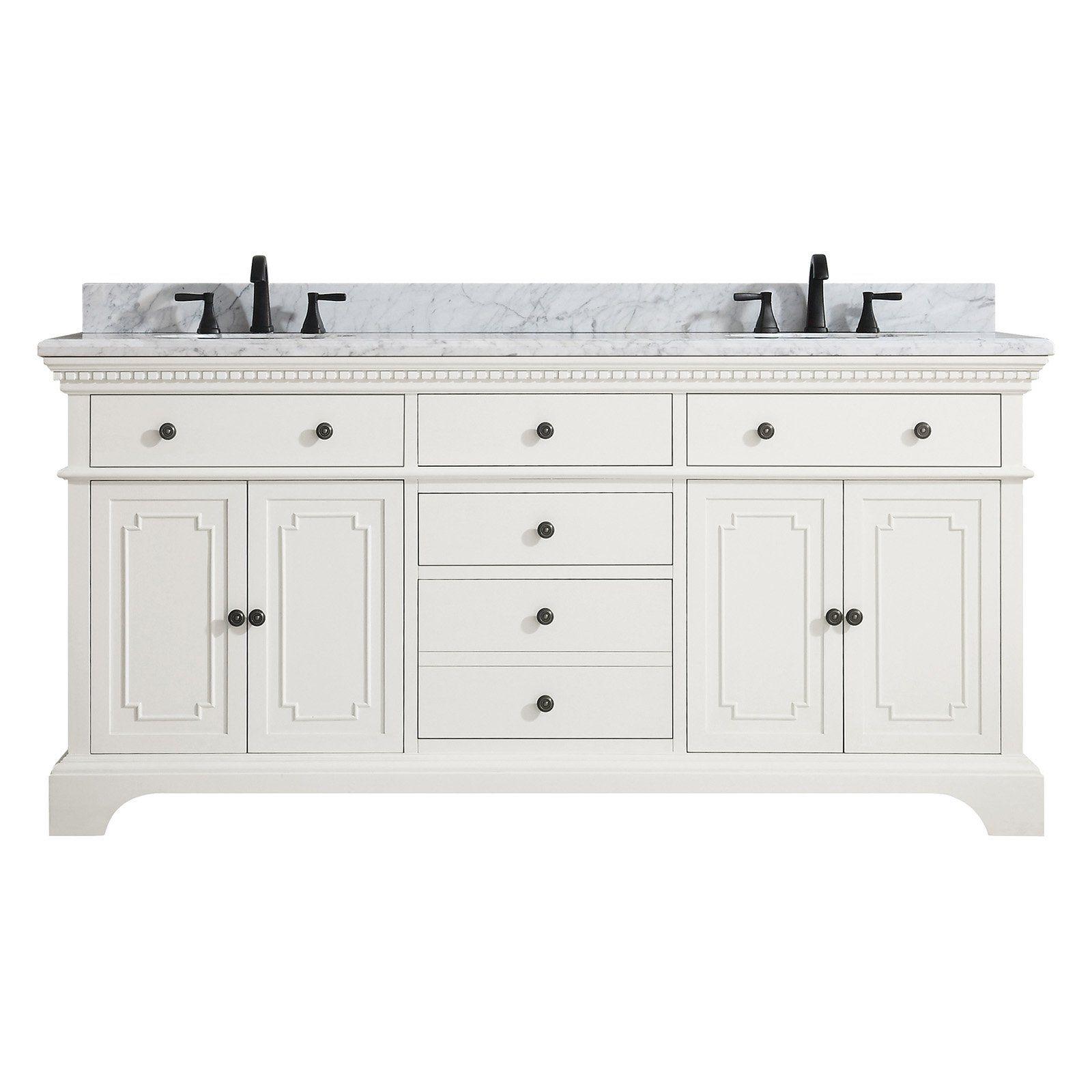 Azzuri Hastings 73 In Double Sink Vanity White Marble Vanity Tops Double Sink Bathroom Vanity Double Sink Vanity