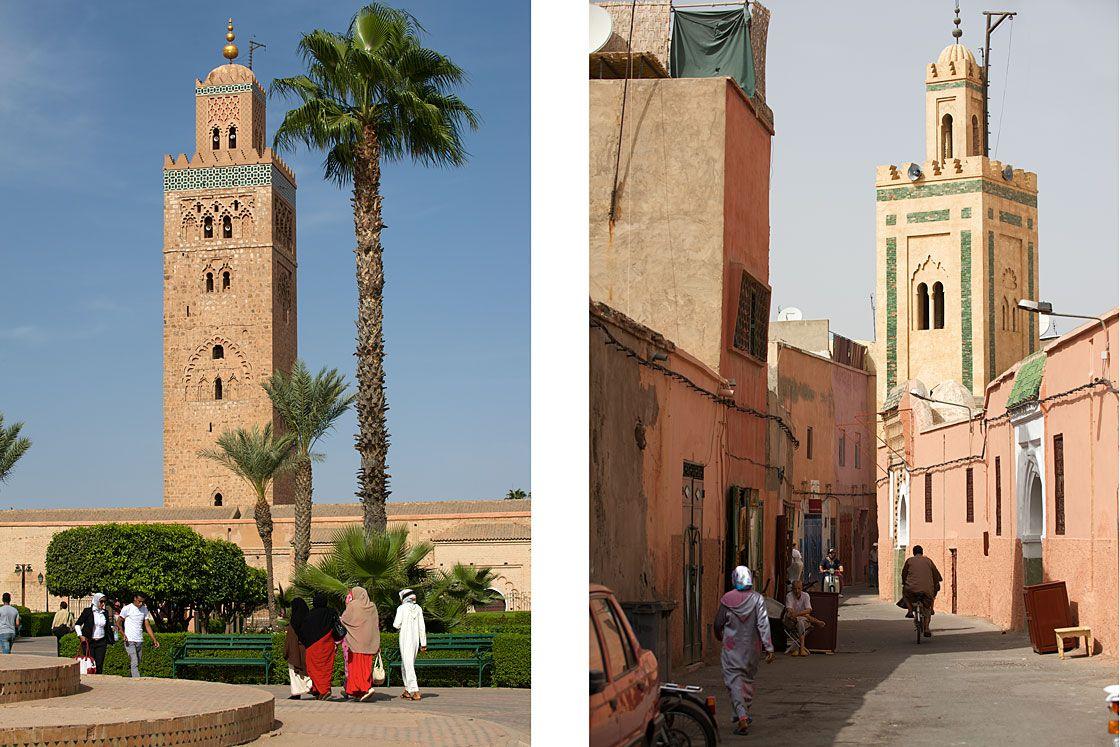 La Koutoubia et une ruelle des souks de Marrakech
