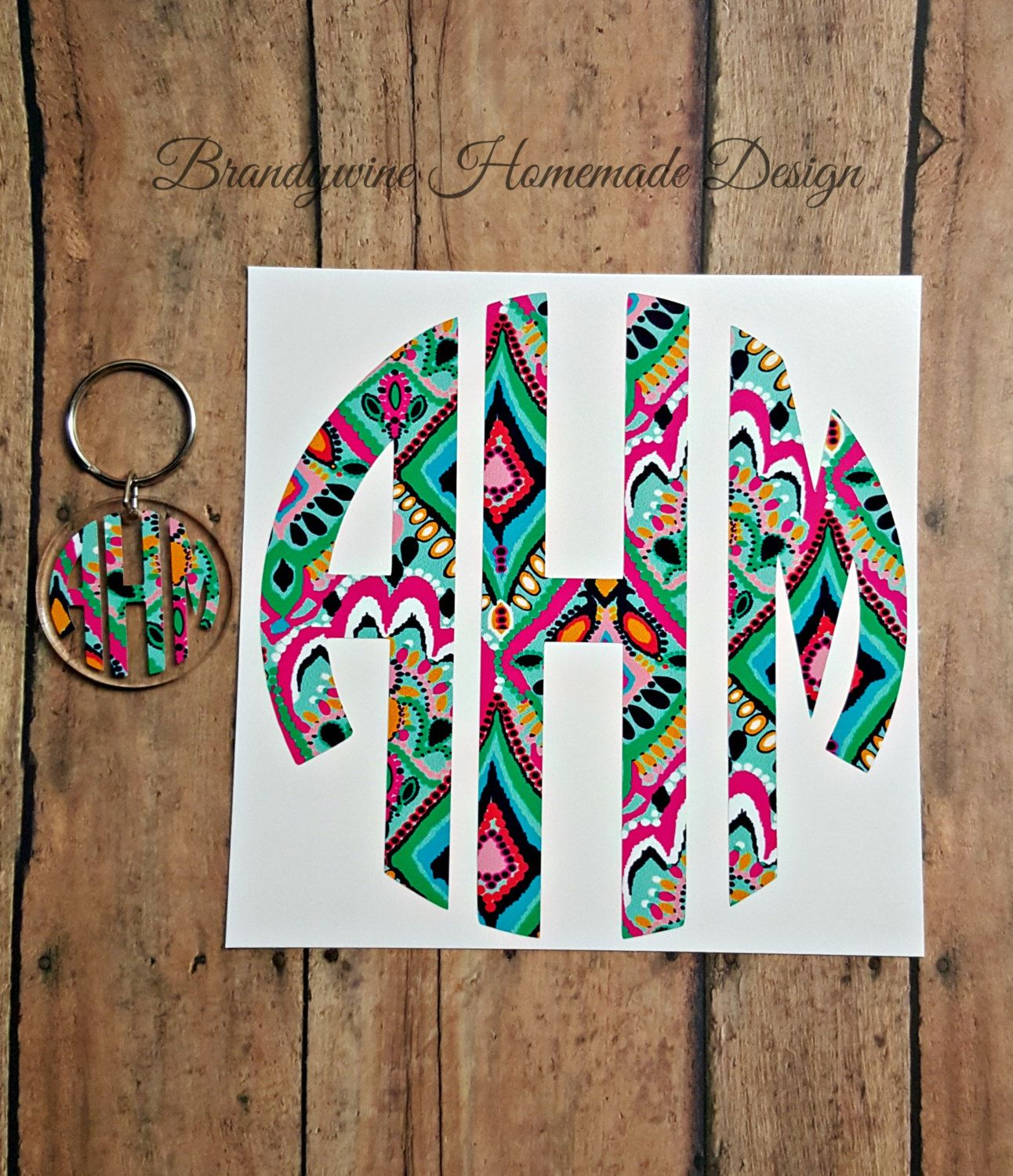 Lilly Pulitzer Inspired Monogram DecalLilly Pulitzer Key Chain - Custom printed vinyl car decals