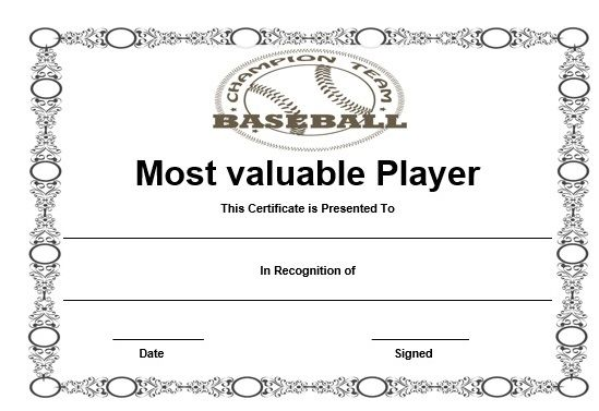 Free baseball mvp certificate template baseball certificate free baseball mvp certificate template yadclub Images