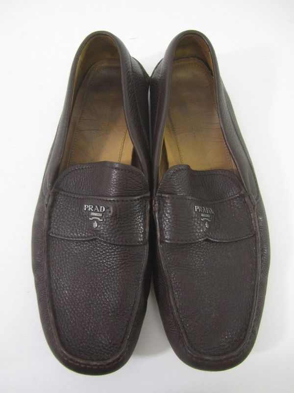 015256efb922 ... clearance auth prada mens dark brown leather loafers sz 12 at  shoplindasstuff ed416 6e3ad