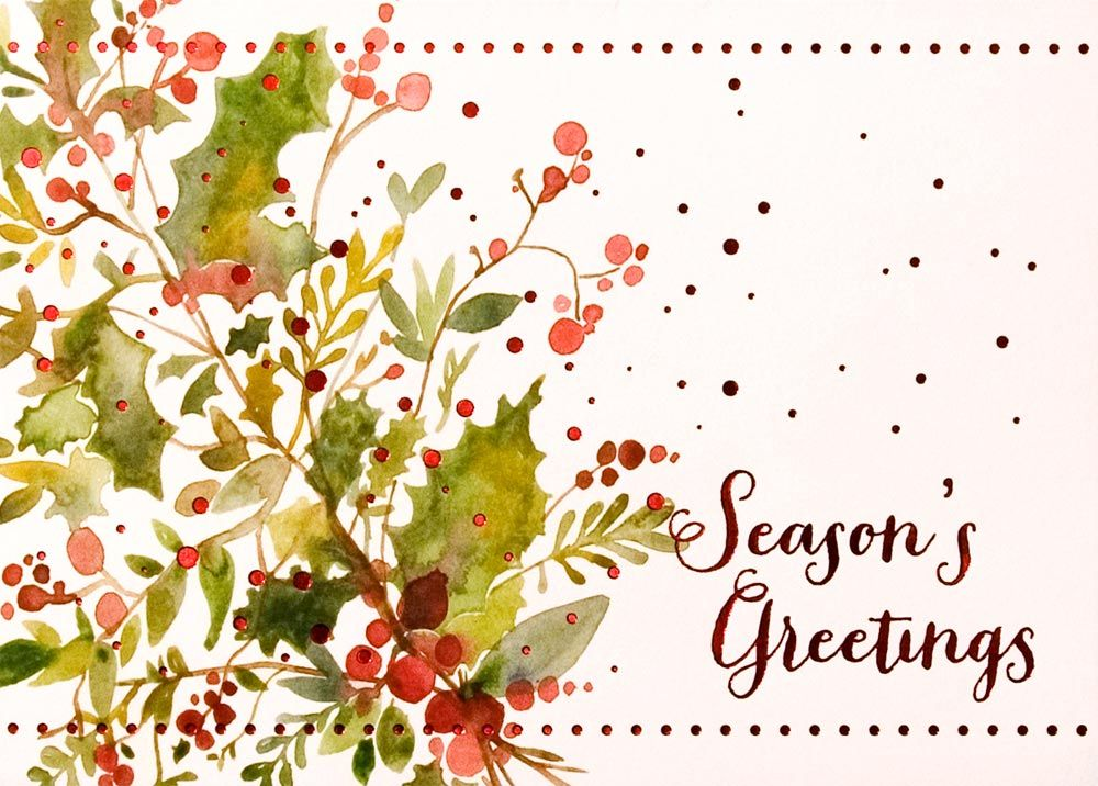 Business card but nice idea for watercolor holly and berries card holly and berries card and business appropriate by brookhollow offering quality greeting cards at discount prices m4hsunfo