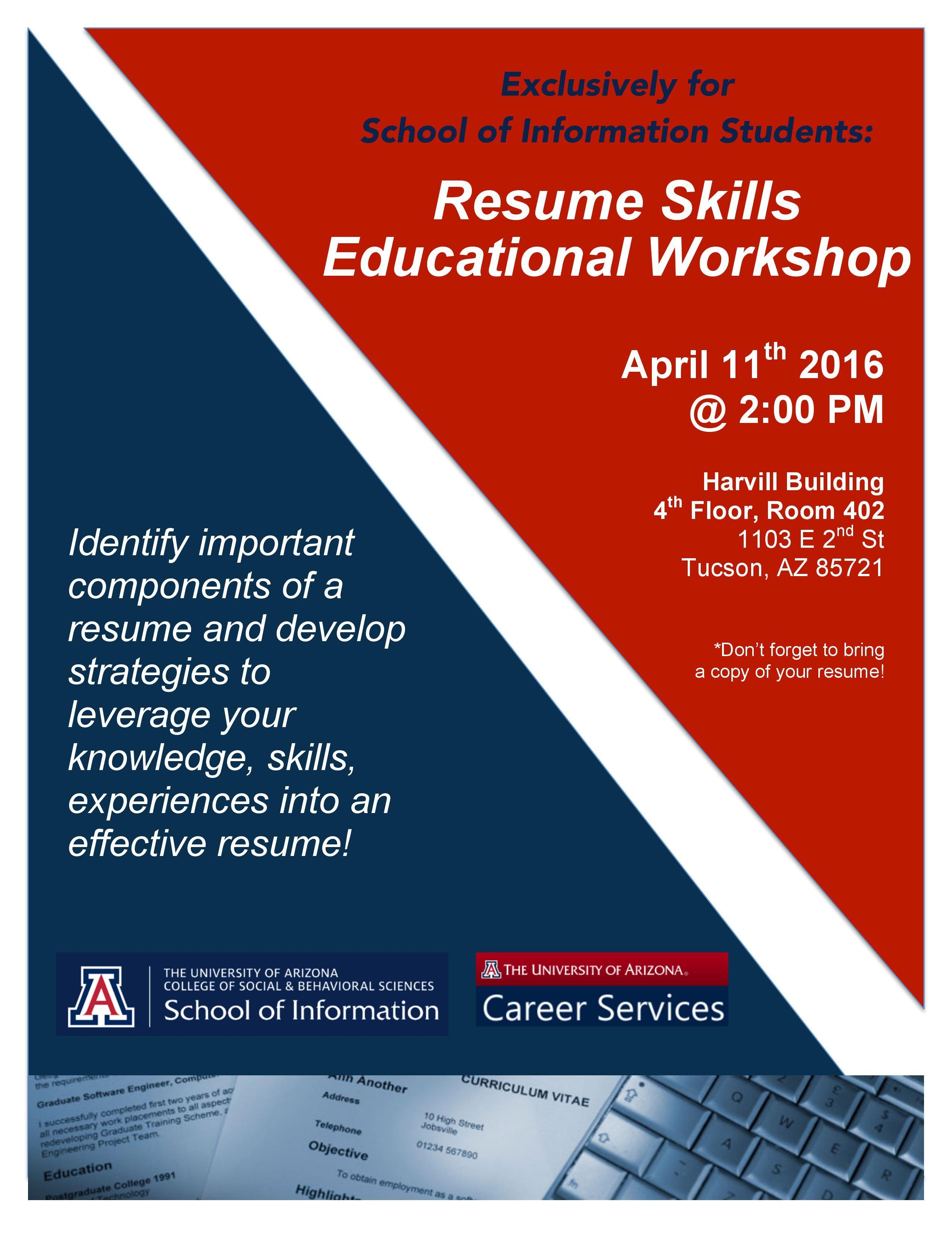 April 11 2016 At 200 Pm Resume Skills Educational Workshop Si