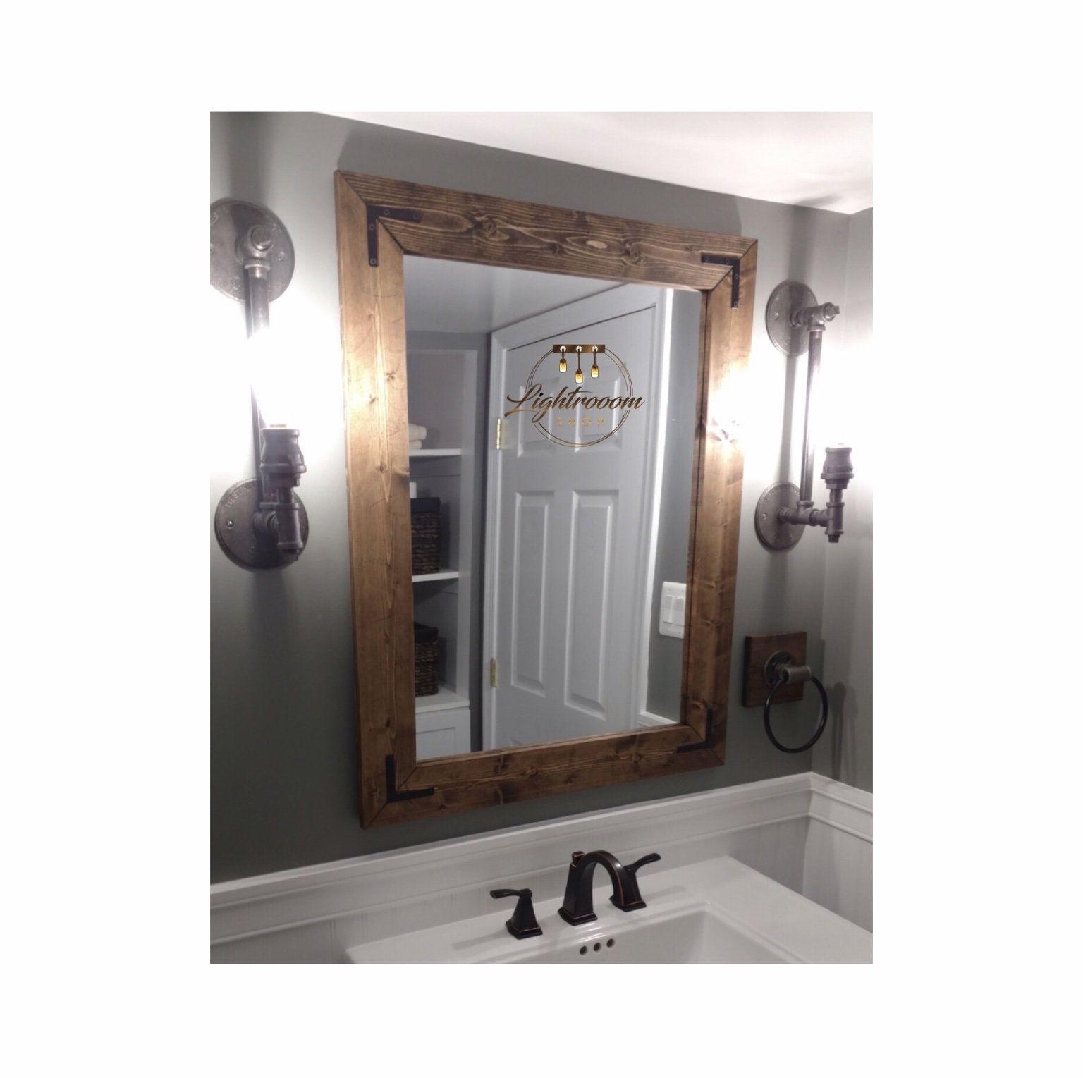 Dark Walnut Farmhouse Mirror Country Wood Frame Mirror Wood