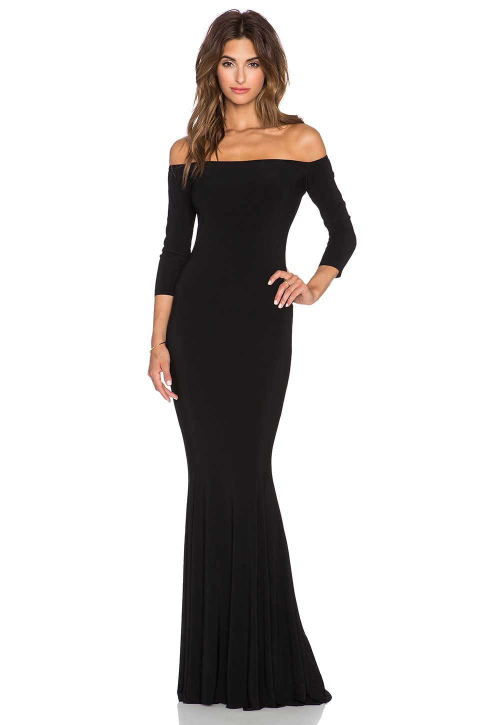 Norma kamali norma kulture off the shoulder fishtail gown in black gala dresses ombrellifo Choice Image