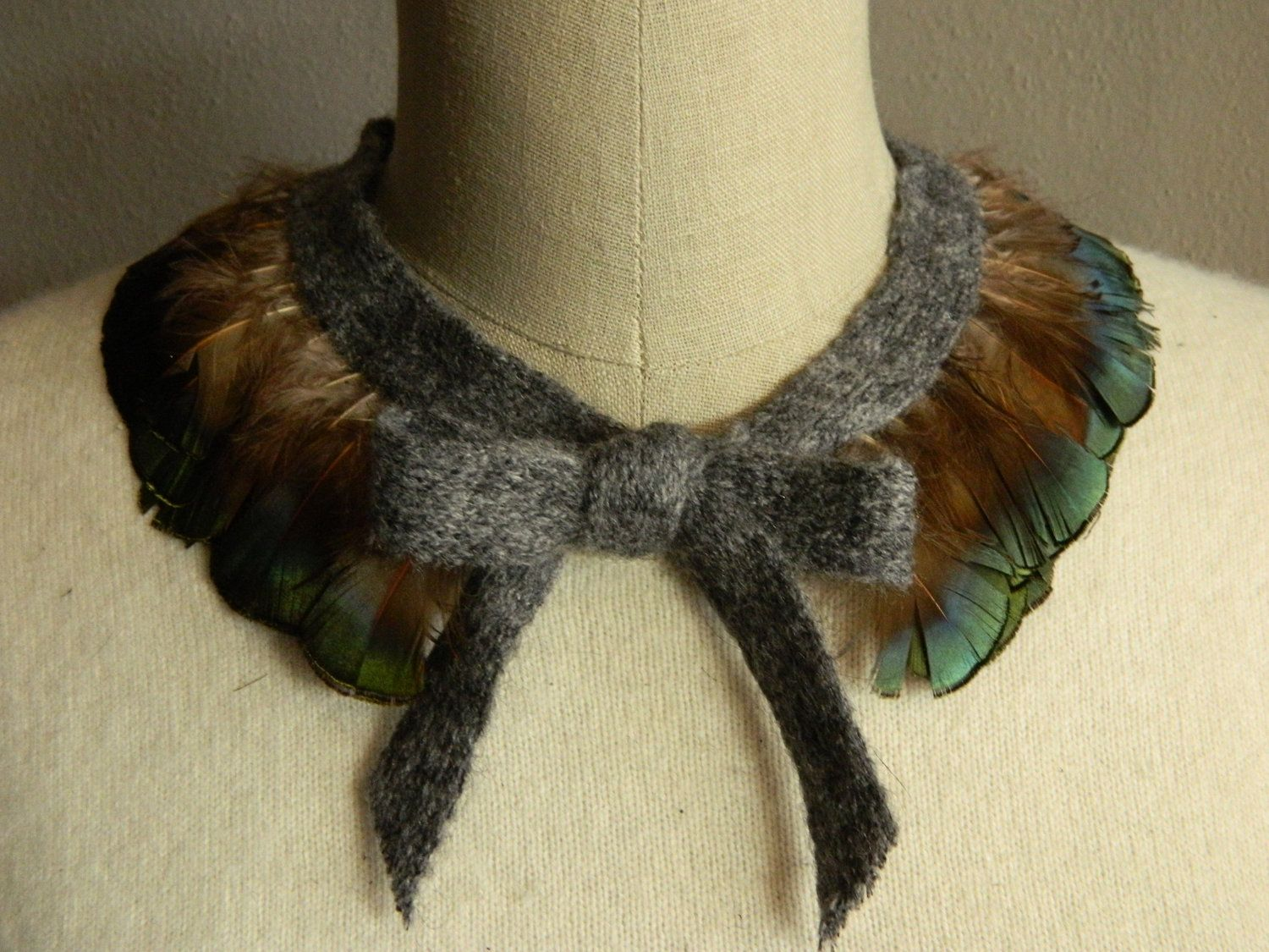 Muliticolor Feather Collar Necklace with Adjustable Mohair Ribbon Front Tie Bow