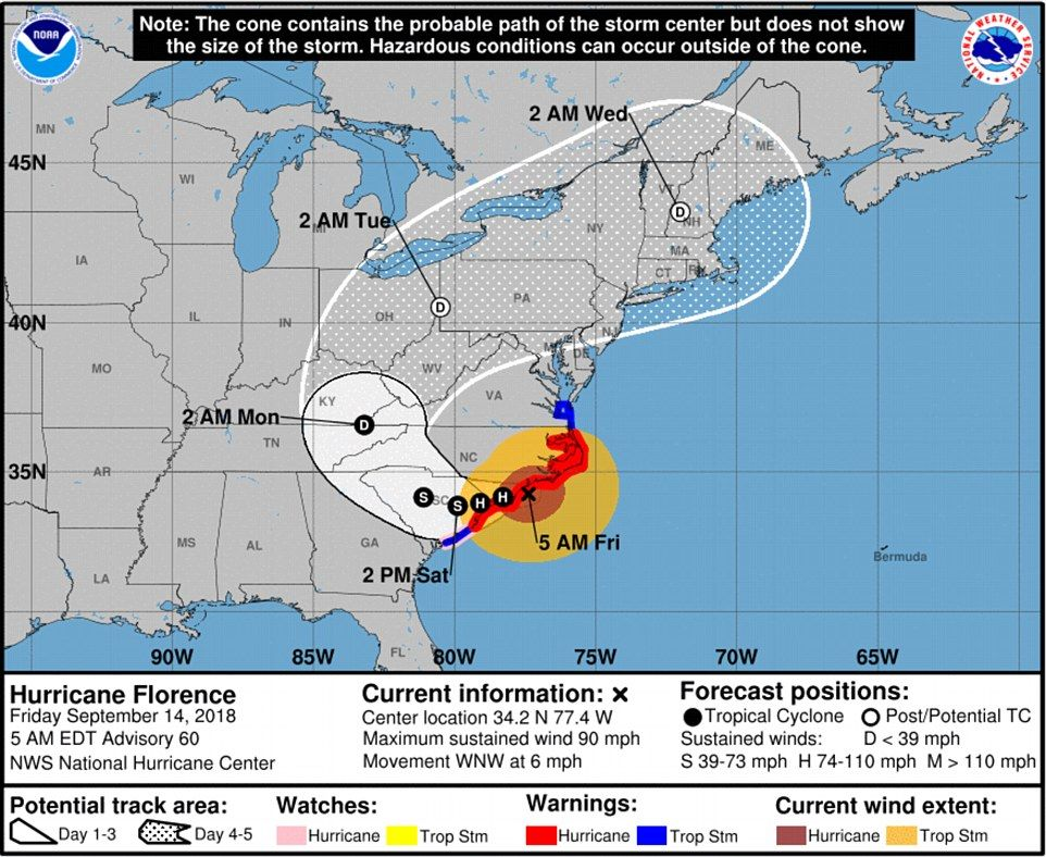 A map from the National Hurricane center shows the