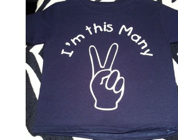 Im This Many Age TWO Peace Sign Birthday Shirt By Ilove2sparkle