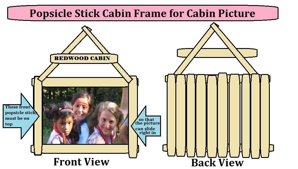 camp craft- Popsicle Stick Cabin Frame Craft- 4X6 picture slides ...