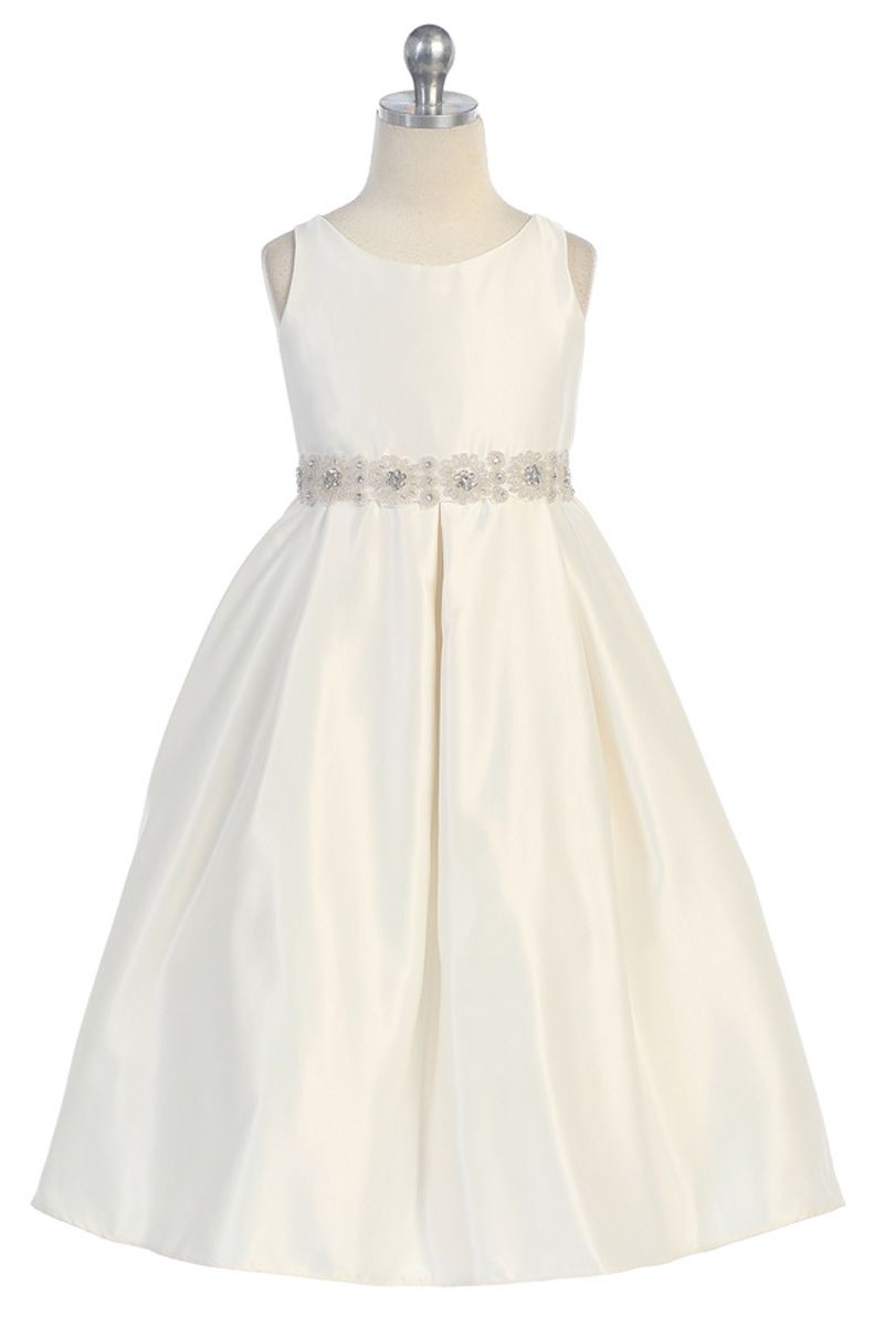 Ivory satin pearl beaded flower girl dress cdiv cdiv