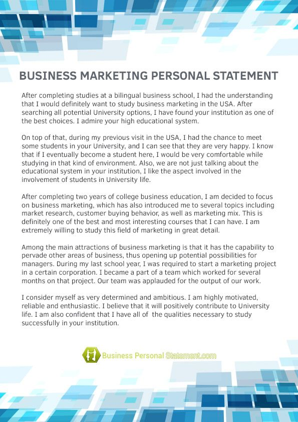 marketing personal statement cv