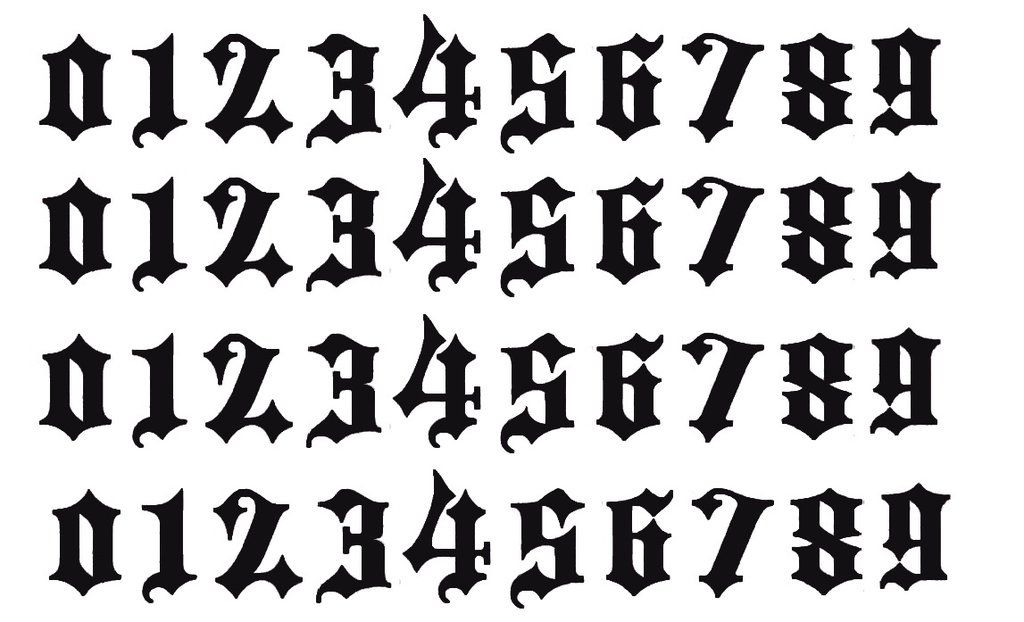 Small Old English Tattoo: Tattoo Lettering Fonts, Number