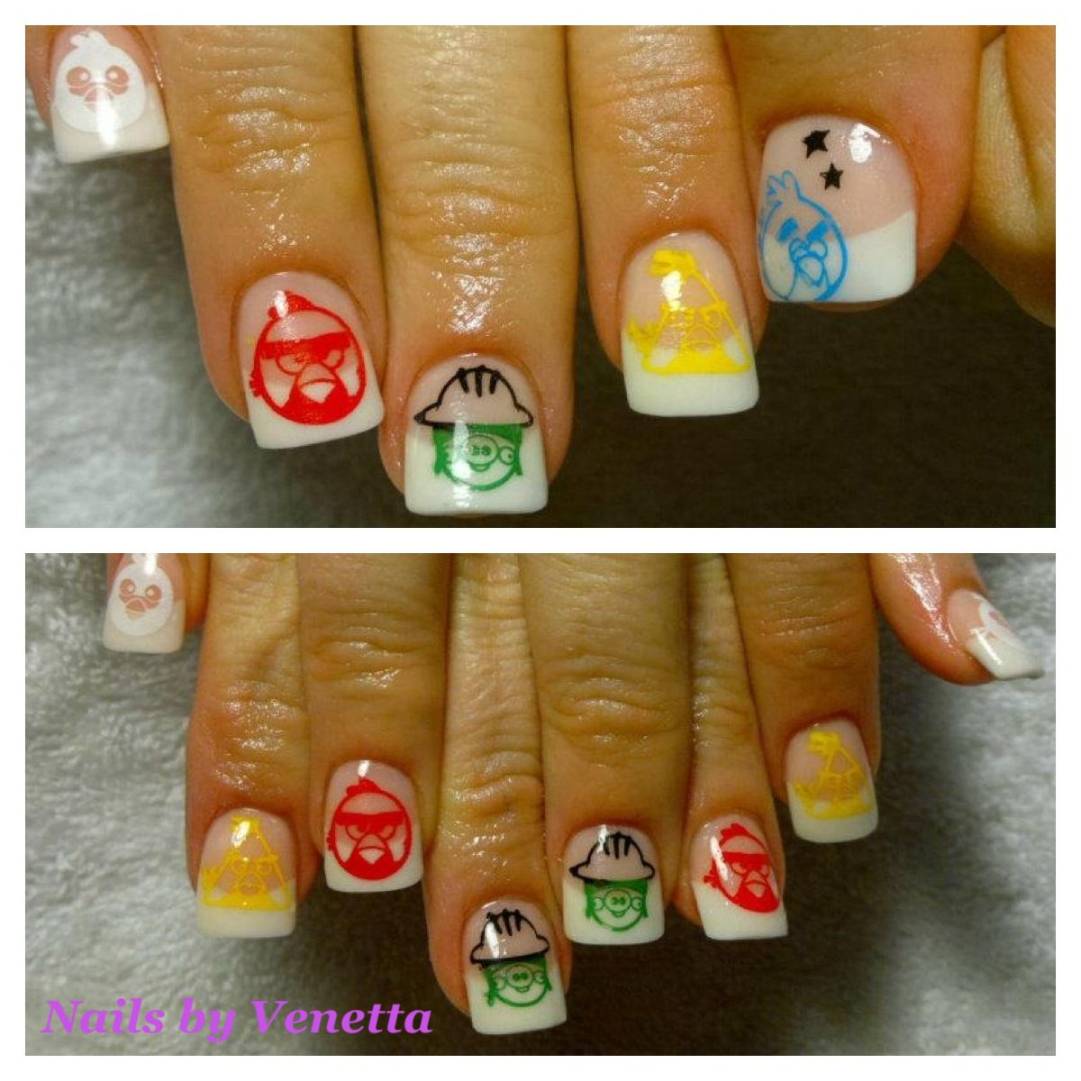 White French Acrylic Nails with Angry Bird Stamps, Nail Art ...