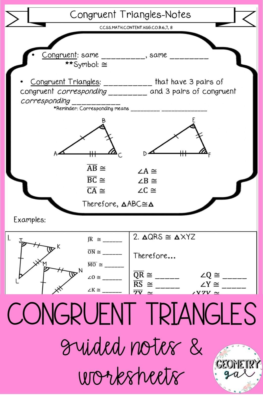 Congruent Triangles Notes And Worksheets