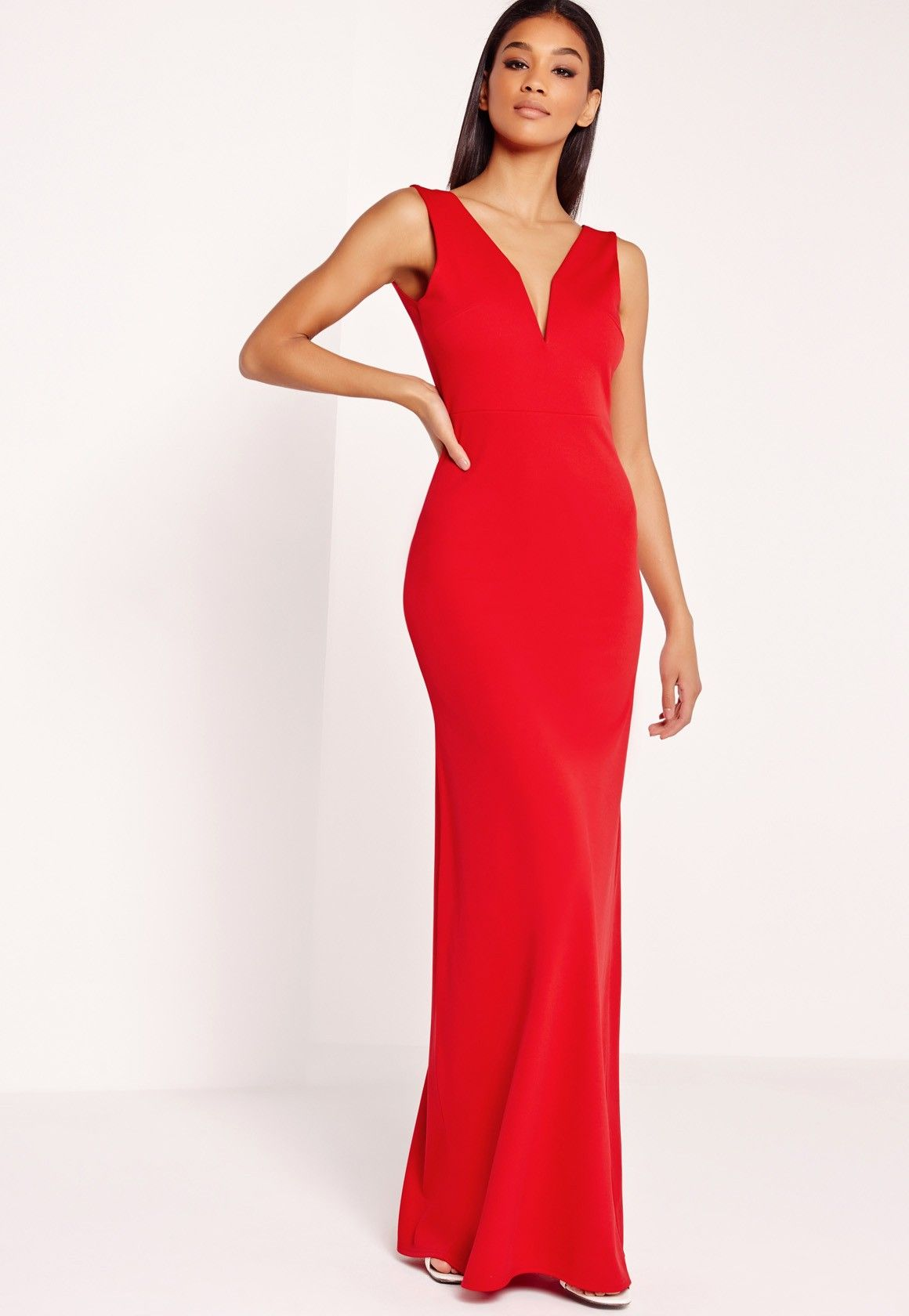 Missguided vneck plunge maxi dress red prom pinterest