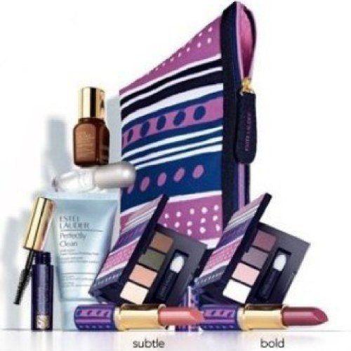 New Estee Lauder Macy's 7 Pcs Skin Care Makeup Gift Set Advanced Night Repair Mascara Lipstick Cosmetic Bag