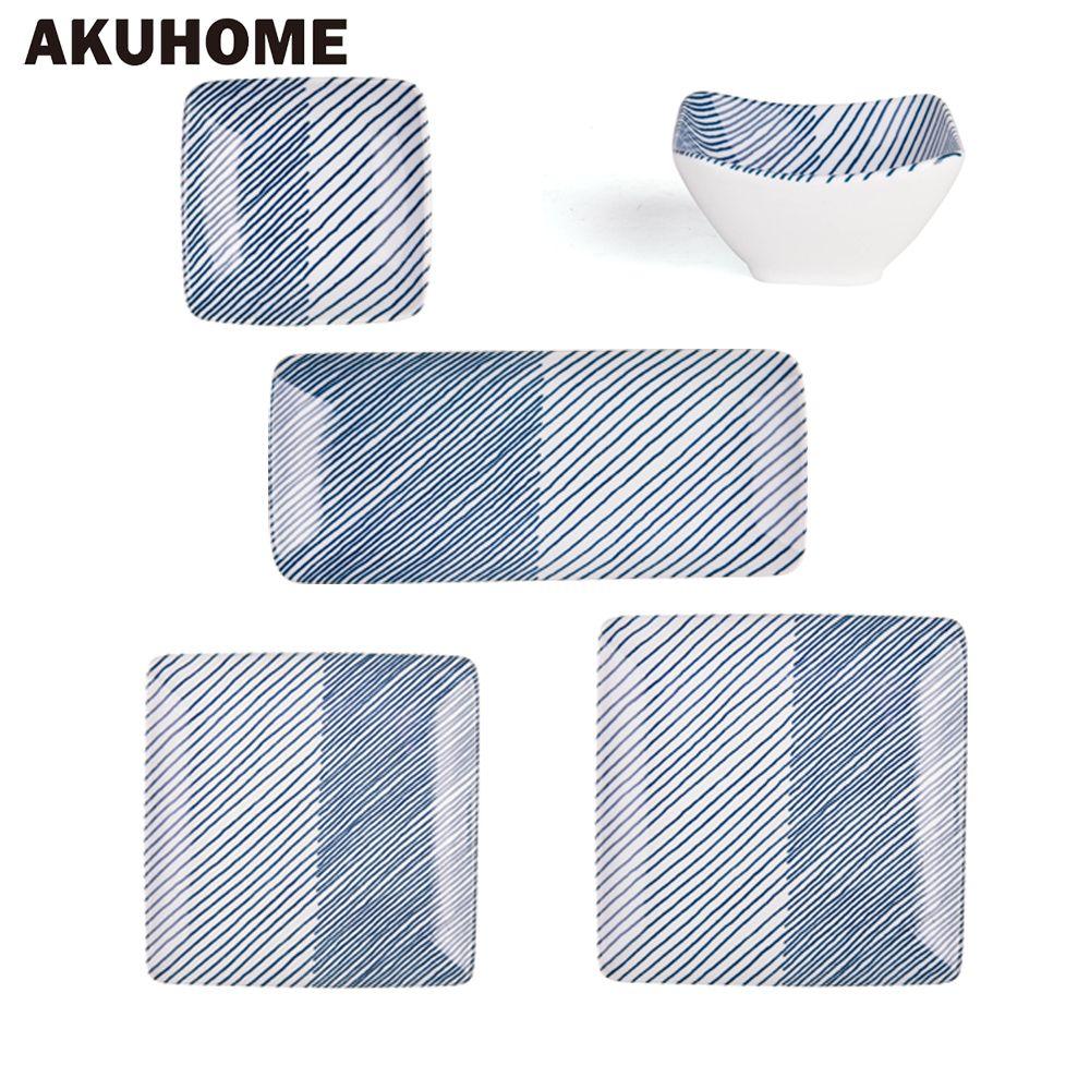 DHL Free Shipping Japanese Ceramic Porcelain Blue Stripe Dinnerware Set Siroyama Plate Dish Bowl Sushi Plate