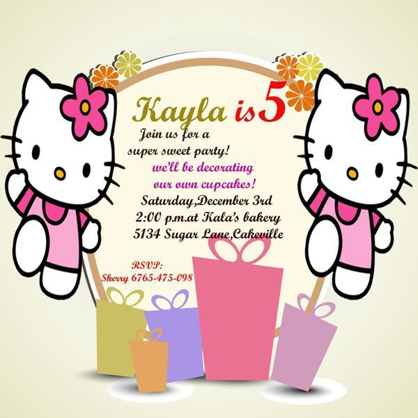 Hello Kitty 5th Birthday Party Invitation Template Hello Kitty Invitations Hello Kitty Birthday Invitations Birthday Invitations