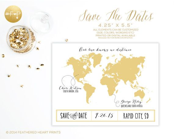 Save the date world map long distance love by featheredheartprints save the date world map long distance love by featheredheartprints on etsy our love gumiabroncs Images