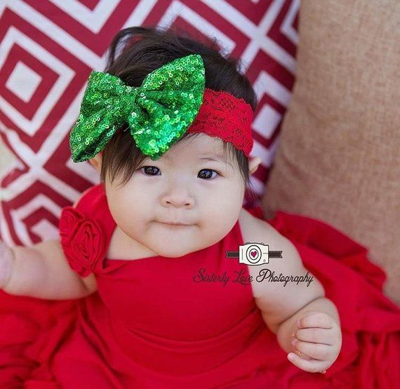 Christmas Headbands For Babies.Baby Christmas Headband Baby First Christmas Holiday Bow