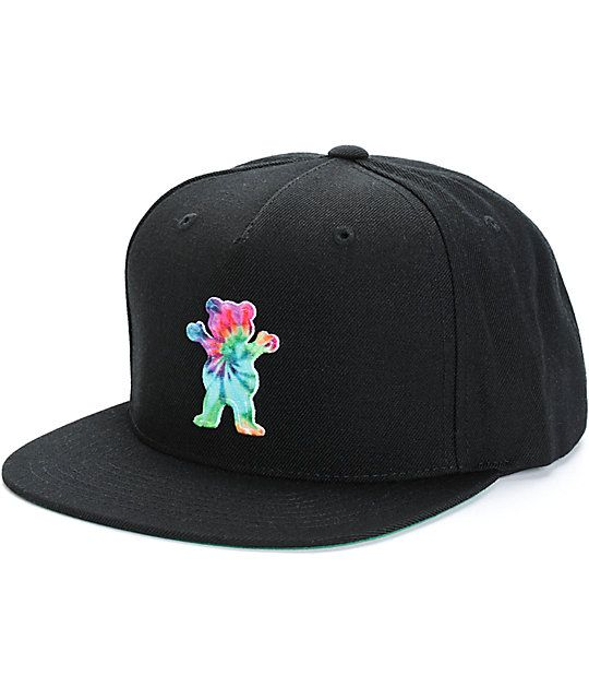 109d9ded Add a groovy new street style to your hat game with a tie dye Grizzly bear  logo patch on the front of a lightweight acrylic-wool blended crown.