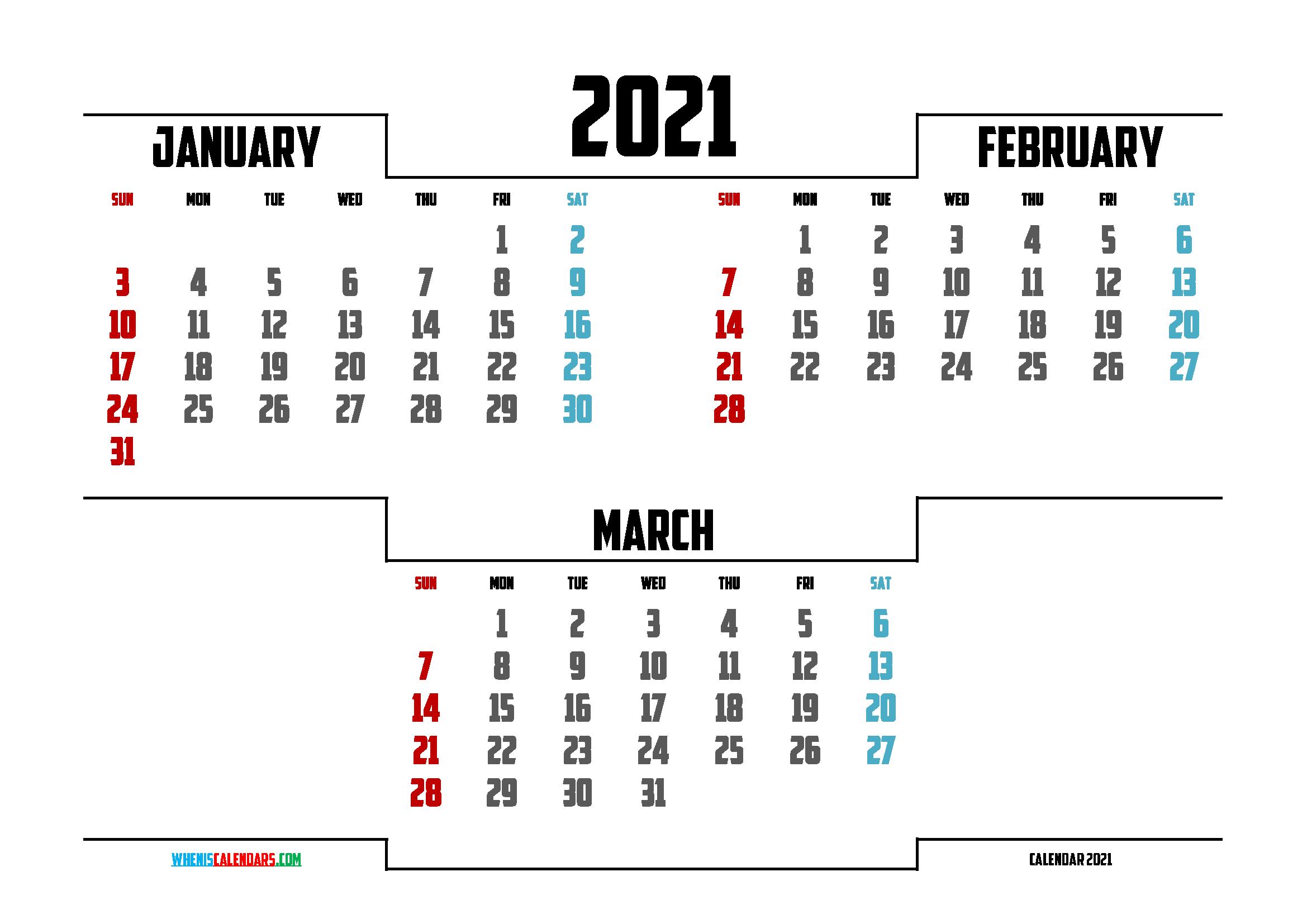 January February March 2021 Printable Calendar | Calendar