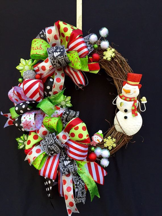 Glitter Snowman Grapevine Wreath by SouthernWhimsyStyle on Etsy