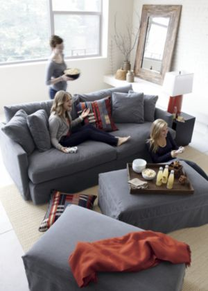 Crate Barrel Lounge 93 Sofa In Cement With Storage Ottoman