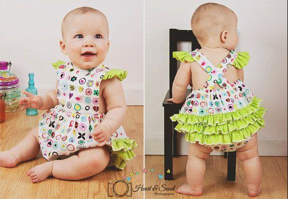 7a12bb296b6d0 Ruff or Ruffled Romper PDF pattern - Ellie Inspired Baby Romper pattern -  Sizes Newborn - 36 months on Etsy, $108.27