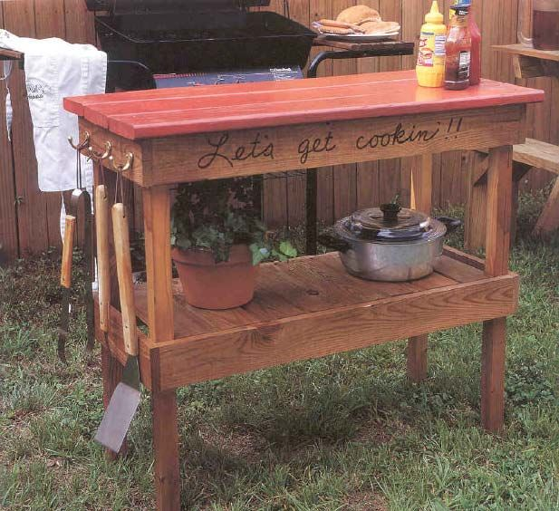 Barbecue Table Outdoor Wood Plans Immediate Download Woodworking Furniture Plans Bbq Table Wood Diy