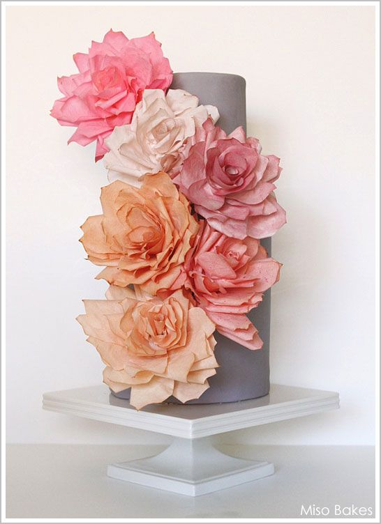 Paper rose weddings cake diy tutorial wedding 101 diy wedding decorate your own wedding cake with paper roses made of coffee filters and tea a fabulous diy cake project by miso bakes mightylinksfo
