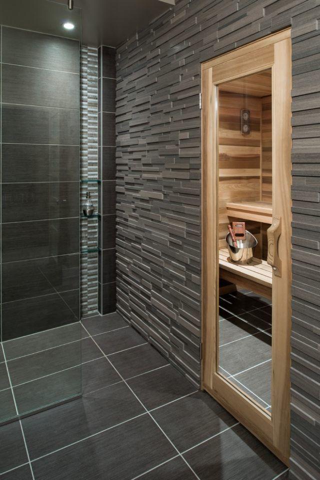 Bad Sauna Planen Anthrazit Graue Fliesen Tür Holzrahmen