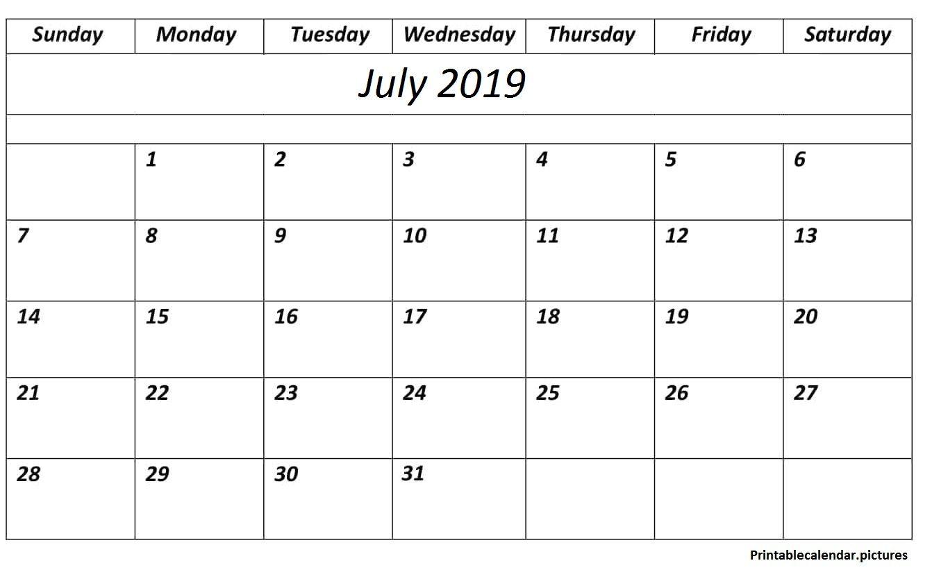Printable Calendar July 2019 Pdf Calendar Printablecalendar