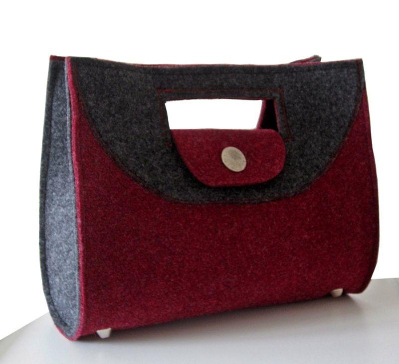 handtasche filz petra lila schwarz exklusiv edel n hen taschen pinterest. Black Bedroom Furniture Sets. Home Design Ideas