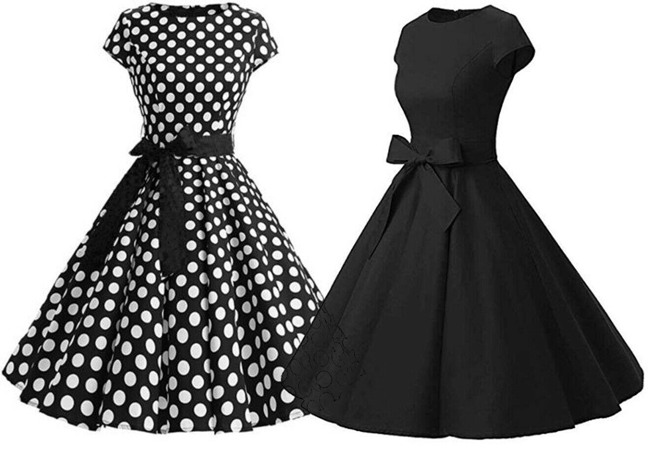 Damen Rockabilly Kleider Petticoat 27er Jahre Vintage Freizeit