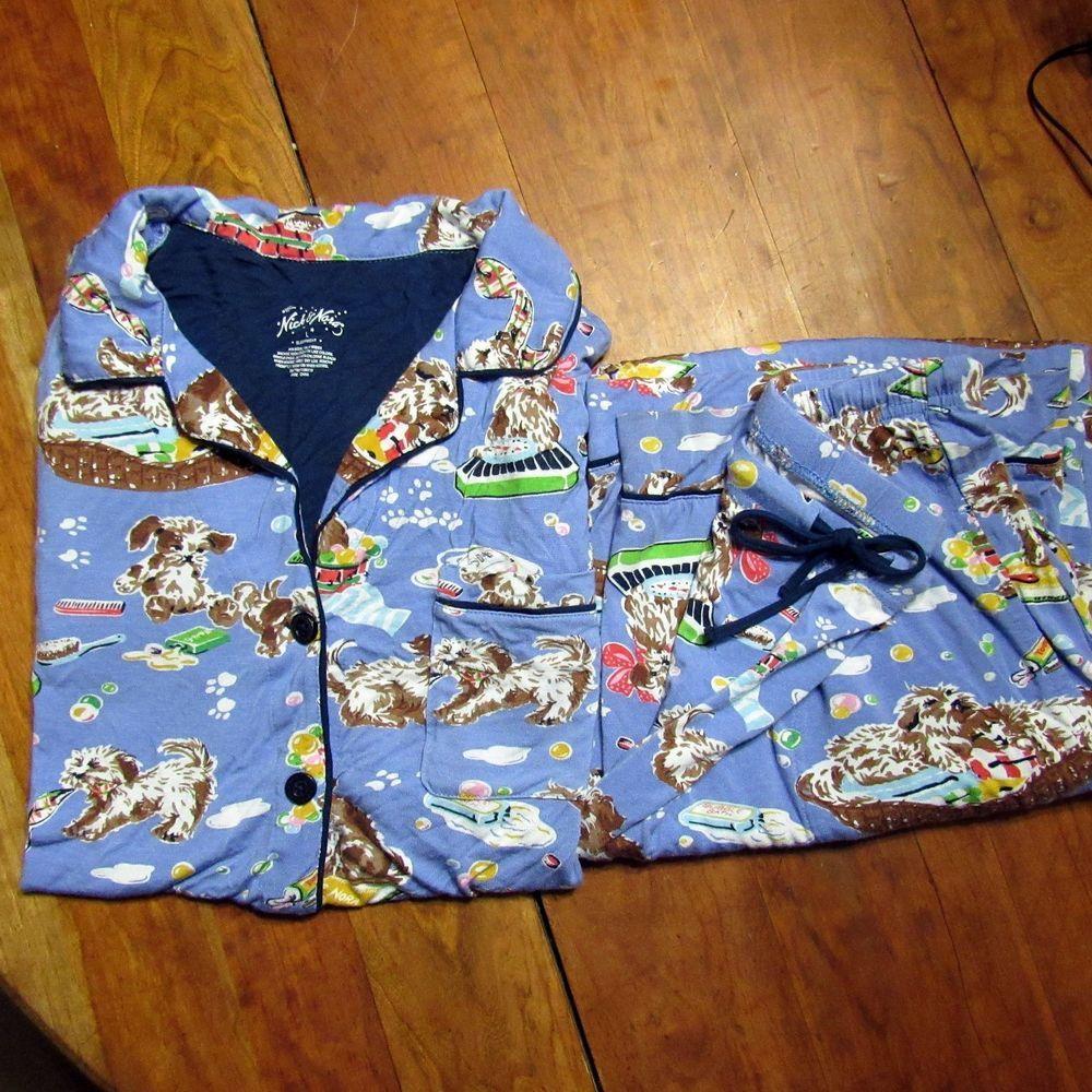 Nick Nora Puppy Bath Time Pajama Set Knit Stretchy Large Set 2 Piece ...