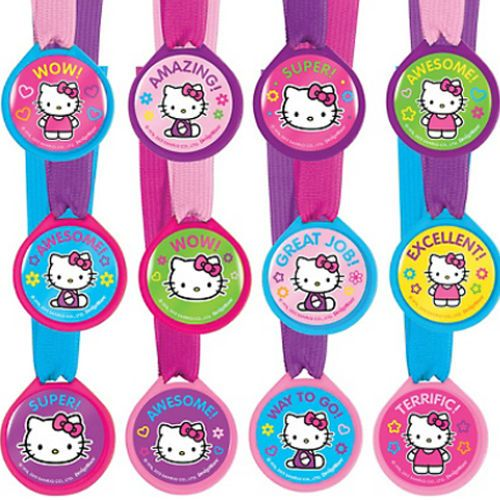 e60294f6e Hello Kitty Rainbow Award Medals (12) Birthday Party Supplies Favors Sanrio