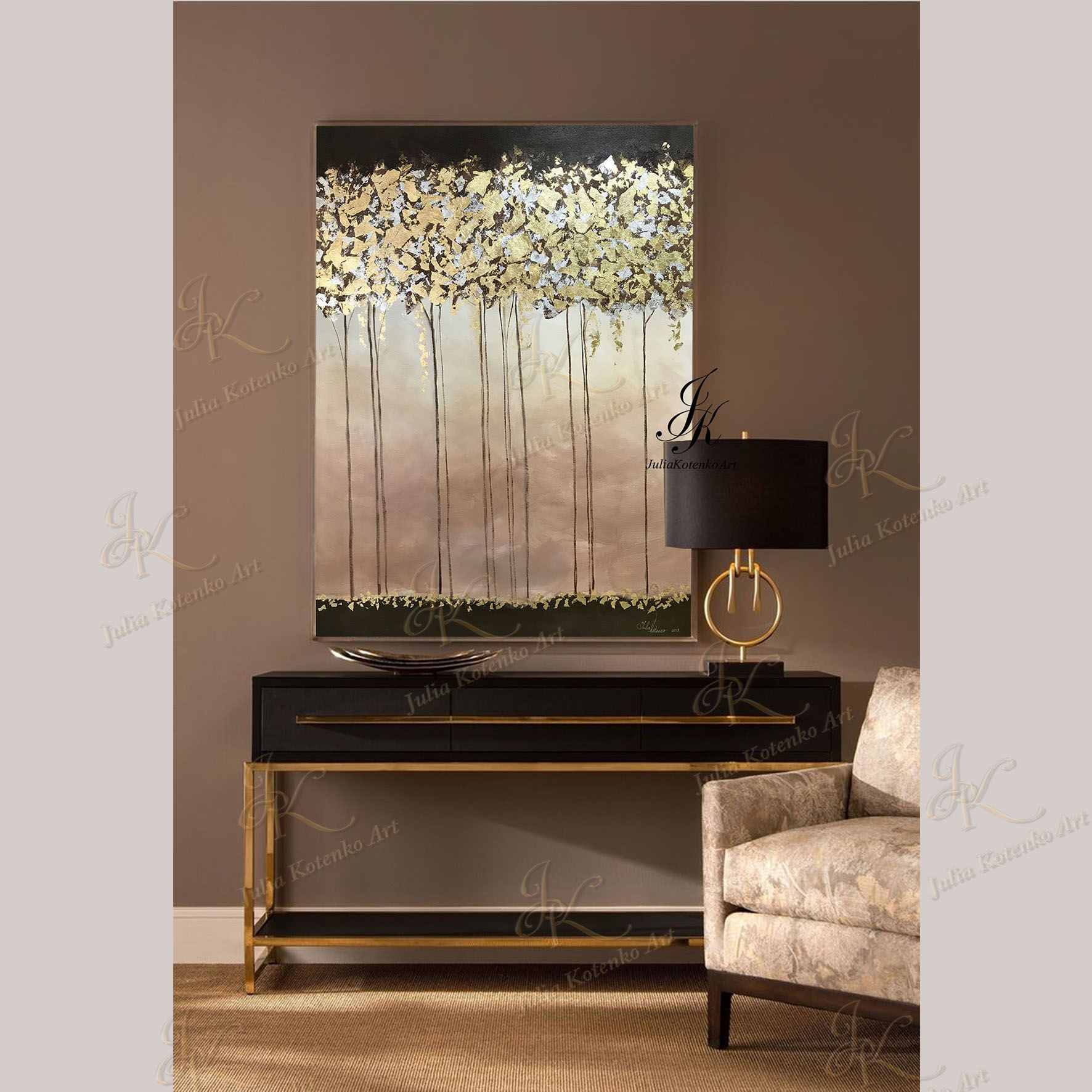 Large abstract oil painting gold leaf art on canvas by julia kotenko