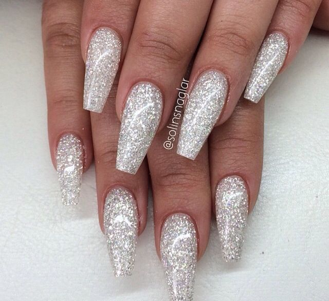 Sparkly Silver Acrylics Bridal Nail Art Prom Nails Nail Designs Glitter