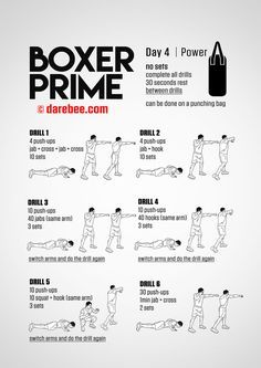 Push Ups Into Boxing Combinations Boxer Prime 30 Day Fitness Program Home Boxing Workout Boxing Workout Boxer Workout