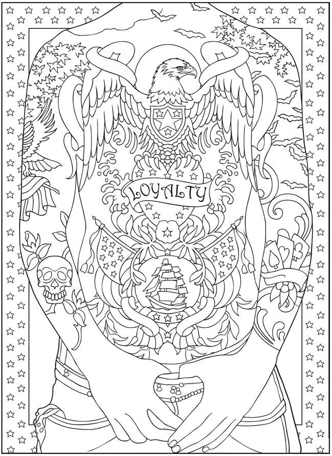 tattoo coloring book pages - Google Search | Adult Coloring Pages ...