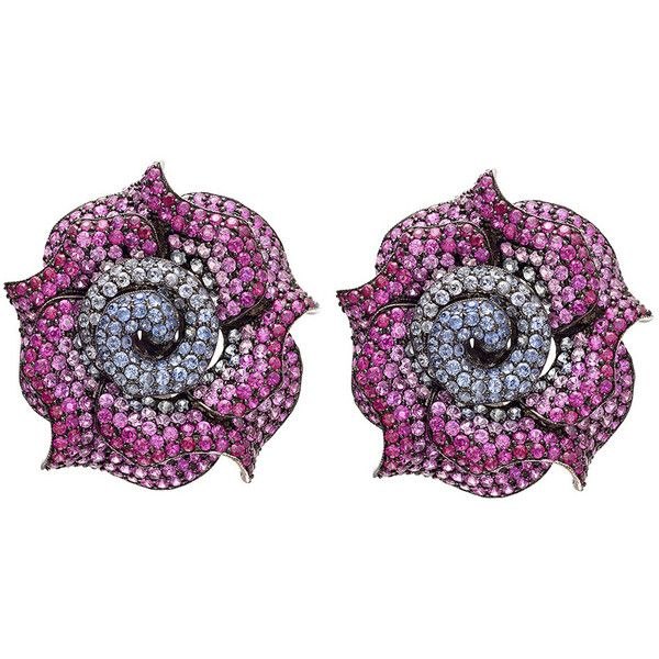 Preowned Ruby Multicolored Sapphire Gold Rose Earrings