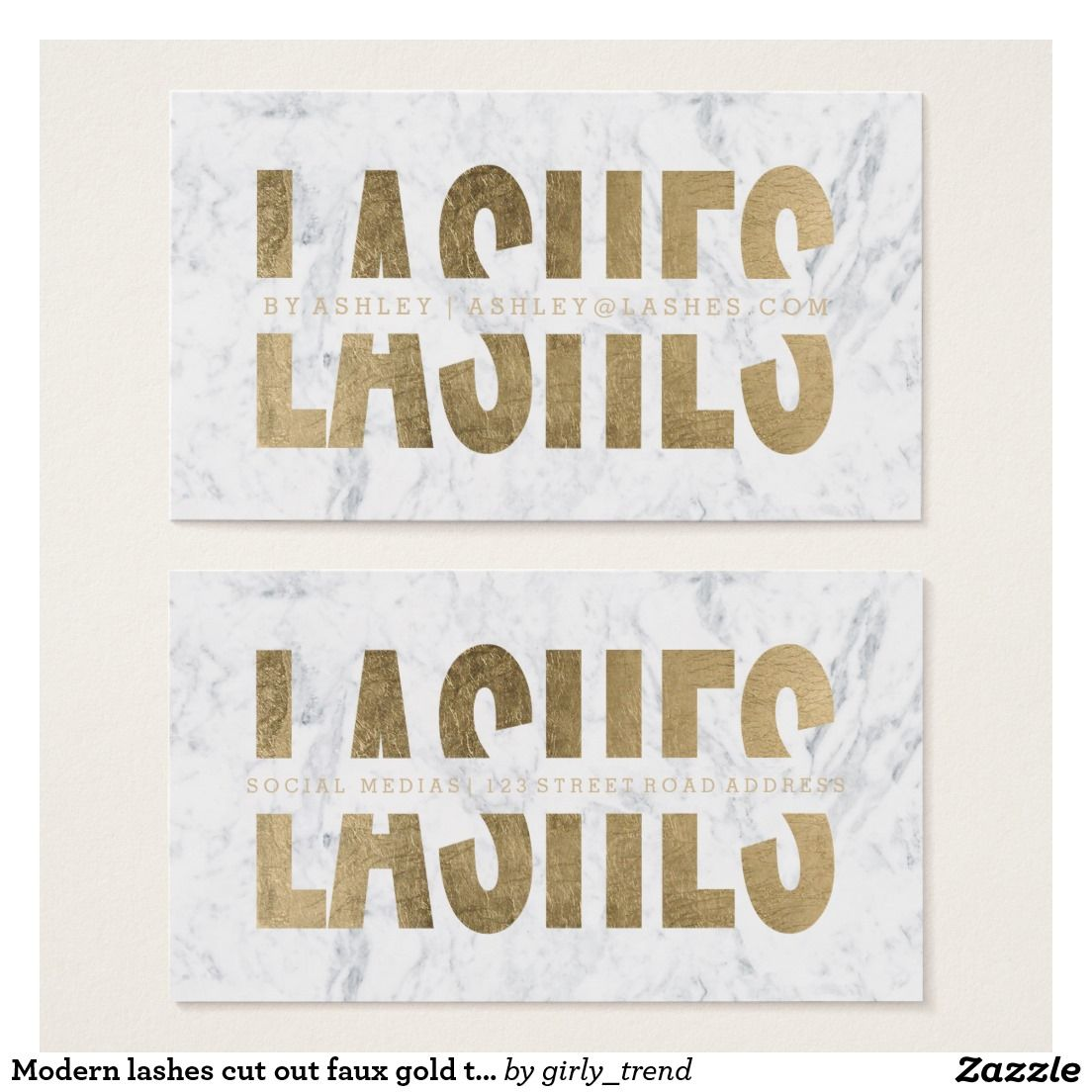 Modern Lashes Cut Out Faux Gold Typography Marble Business Card